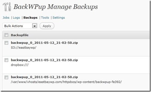 BackWPUp list of backups