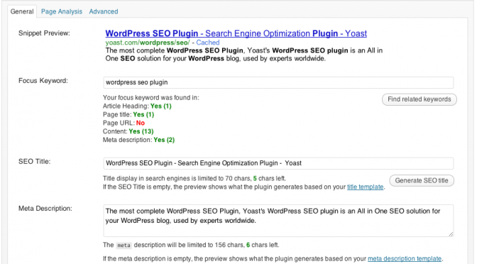 WordPress SEO Plugin Keyword