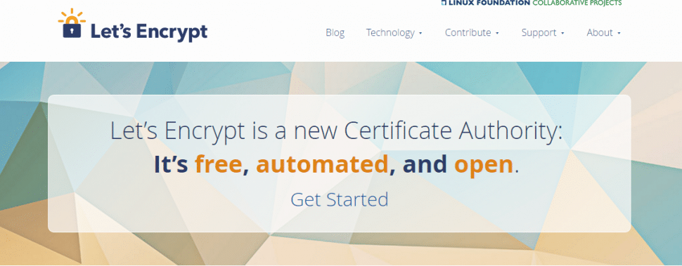 Screenshot of Let's Encrypt home page