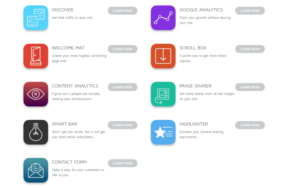 screenshot of tools provided by SumoMe