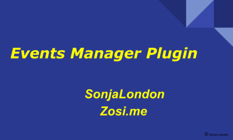 Cover Slide for Events Manager Plugin presentation by Sonja London