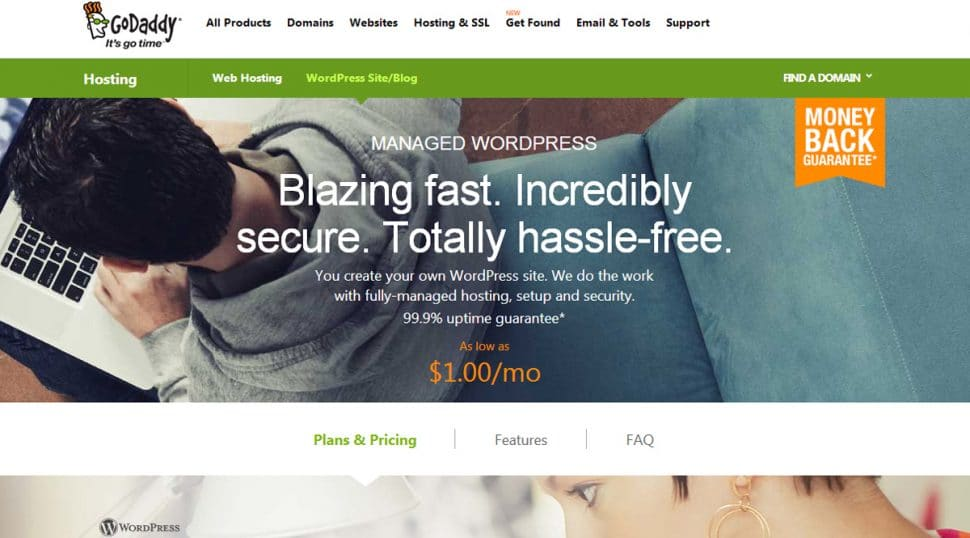 Go Daddy Managed WordPress Hosting screenshot