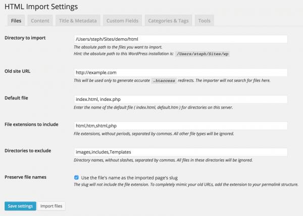 screenshot of HTML Import 2
