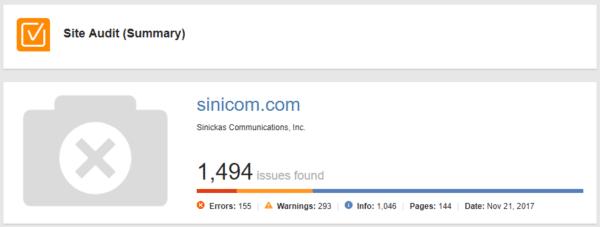 WebSite Auditor site audit summary for sinicom.com